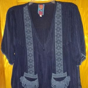 Johnny Was Button Up Blouse Shirt Sz S